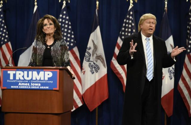 Tina returns as Sarah Palin to endorse Donald Trump