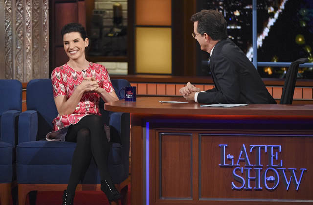 Watch Julianna Margulies and Stephen Colbert click on The Late Show