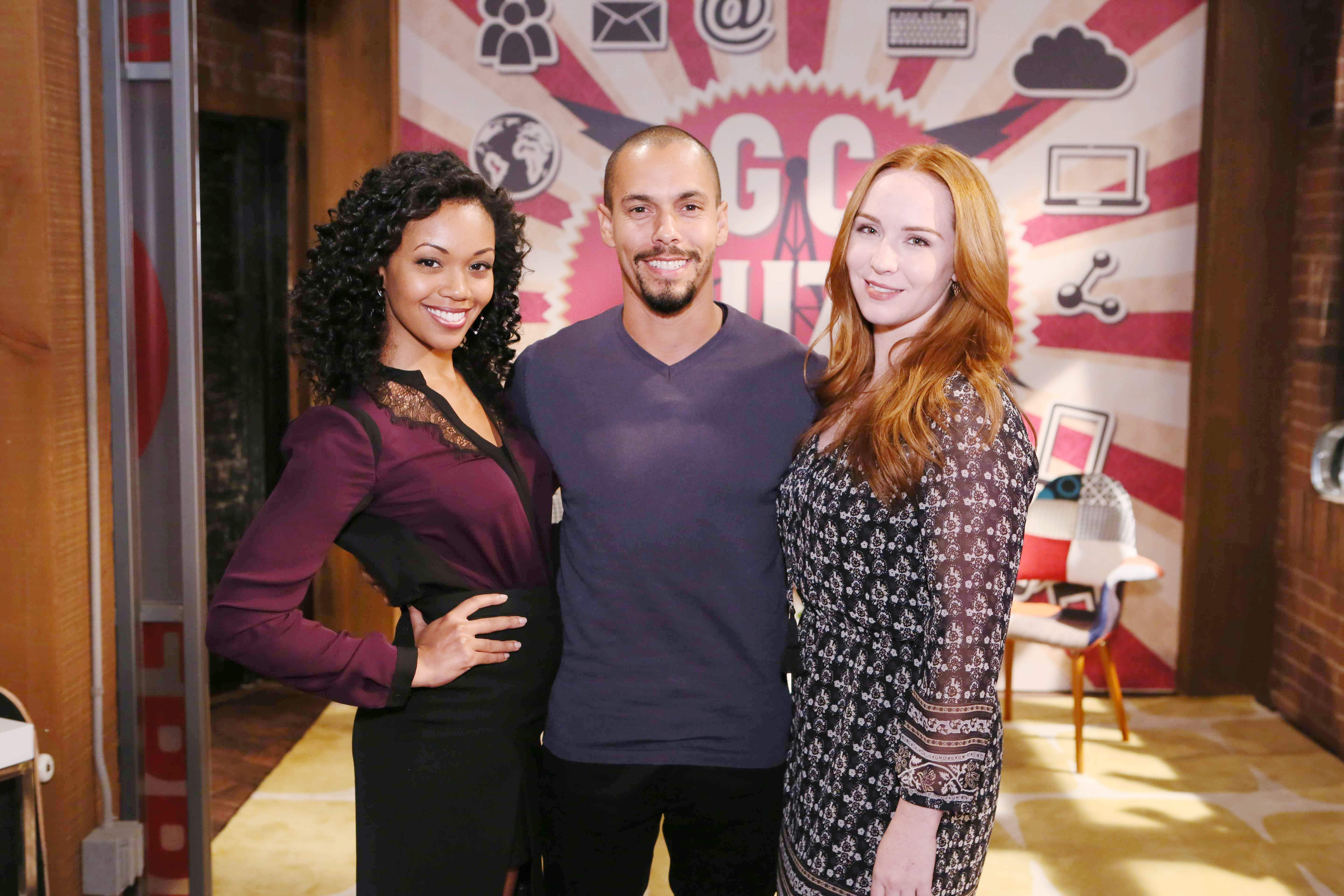 "Bryton James, Camryn Grimes, Mishael Morgan ""The Young and the Restless"" Set  CBS television City Los Angeles 10/13/16 © Howard Wise/jpistudios.com 310-657-9661"