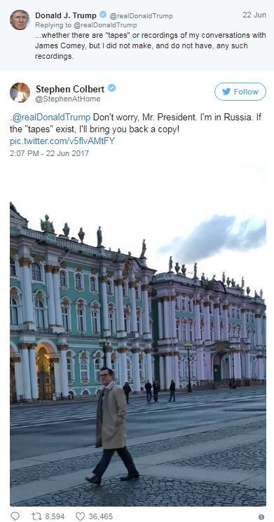 stephen-colbert-tweets-president-donald-trump-trip-to-russia
