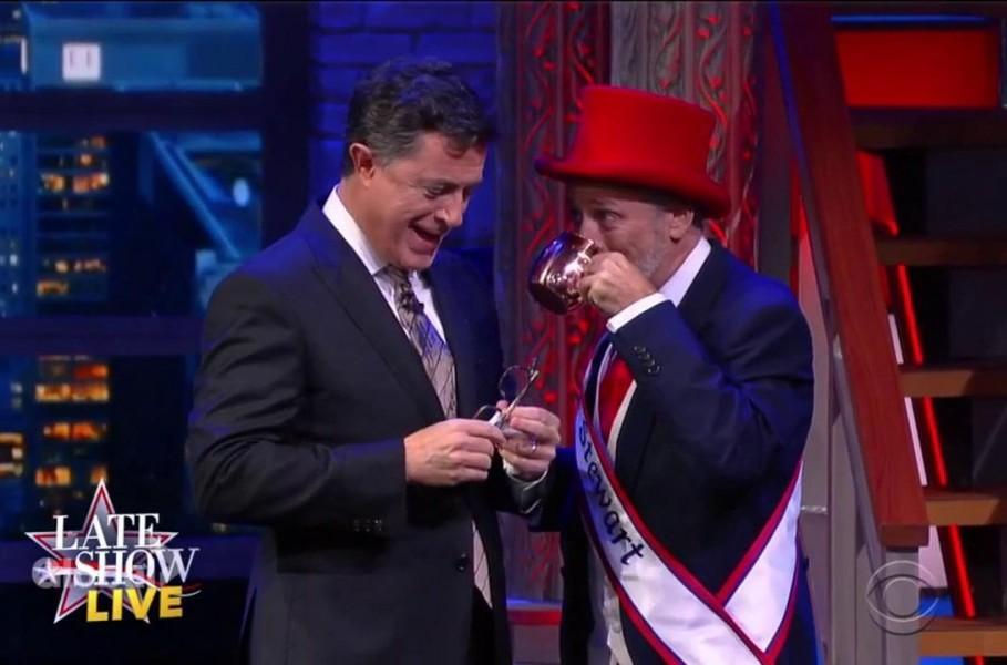 Jon Stewart crashes The Late Show