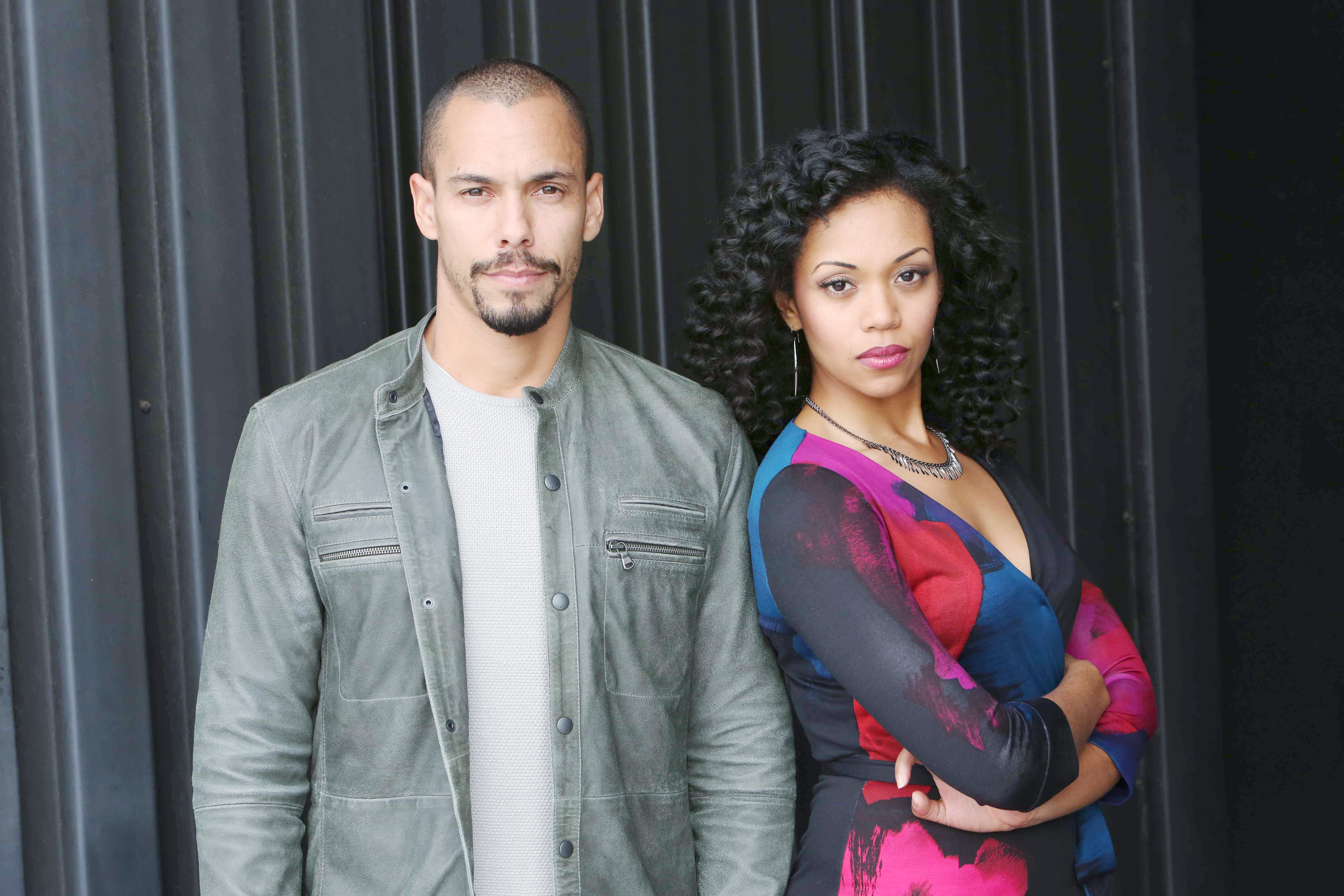 """Bryton James, Mishael Morgan """"The Young and the Restless"""" Set  CBS television City Los Angeles 01/10/17 © Howard Wise/jpistudios.com 310-657-9661"""