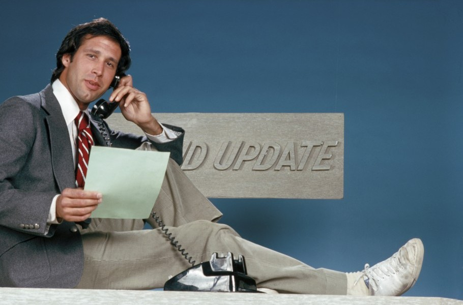 "SATURDAY NIGHT LIVE -- Pictured: Chevy Chase during ""Weekend Update"" -- (Photo by: NBC/NBCU Photo Bank via Getty Images)"