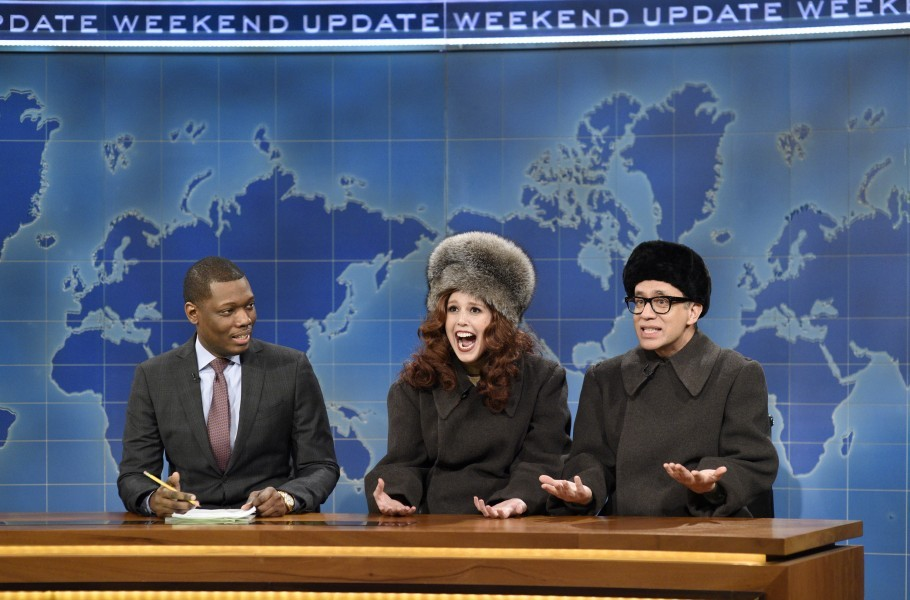 "SATURDAY NIGHT LIVE -- ""Casey Affleck"" Episode 1714 -- Pictured: (l-r) Michael Che, Vanessa Bayer and Fred Armisen as ""Putin's Best Friends from Growing Up"" during Weekend Update on December 17, 2016 -- (Photo by: Will Heath/NBC/NBCU Photo Bank via Getty Images)"